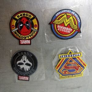 NWT Superhero set of 4 collector pins & 4 patches